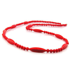 NECKLACE RED BEADS 80CM