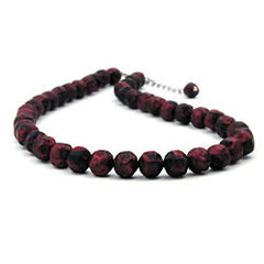 NECKLACE RED/ BLACK BEADS 42 CM