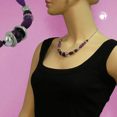 NECKLACE PURPLE BEADS ON COATED FLEXIBLE WIRE 45CM