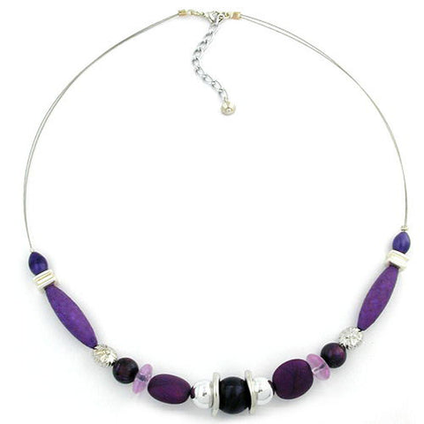 NECKLACE PURPLE BEADS ON COATED FLEXIBLE WIRE 49CM
