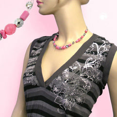 NECKLACE PINK AND SILVER-MIRRORED GLASS BEADS 42CM