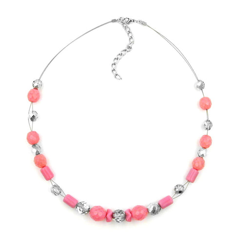 NECKLACE PINK AND SILVER-MIRRORED GLASS BEADS
