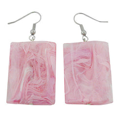 HOOK EARRINGS PILLOW BEAD PINK MARBLED