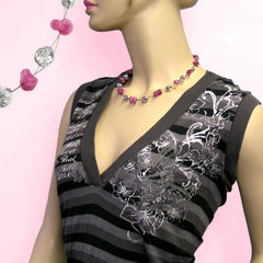 NECKLACE ANTIQUE-LIKE PINK SILVER-MIRRORED 42CM