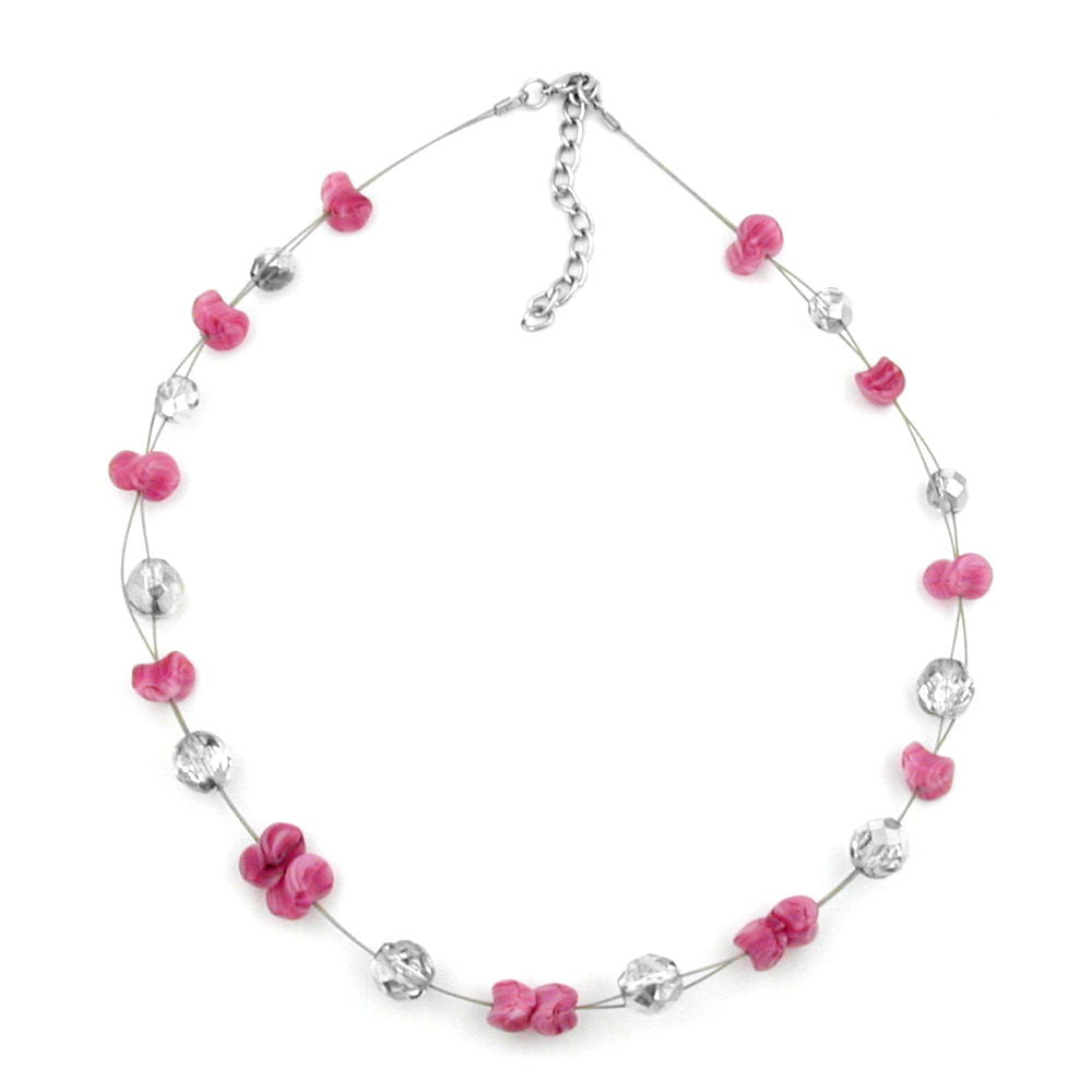 NECKLACE ANTIQUE-LIKE PINK SILVER-MIRRORED