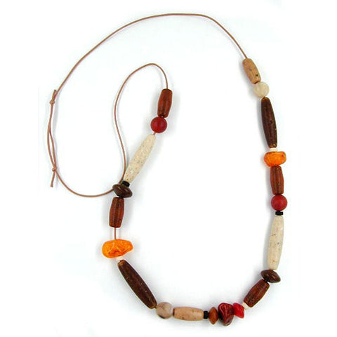 NECKLACE BEADS BROWN-RUST-RED-IVORY 90CM