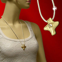NECKLACE METAL CROSS WITH RHINESTONE 70CM