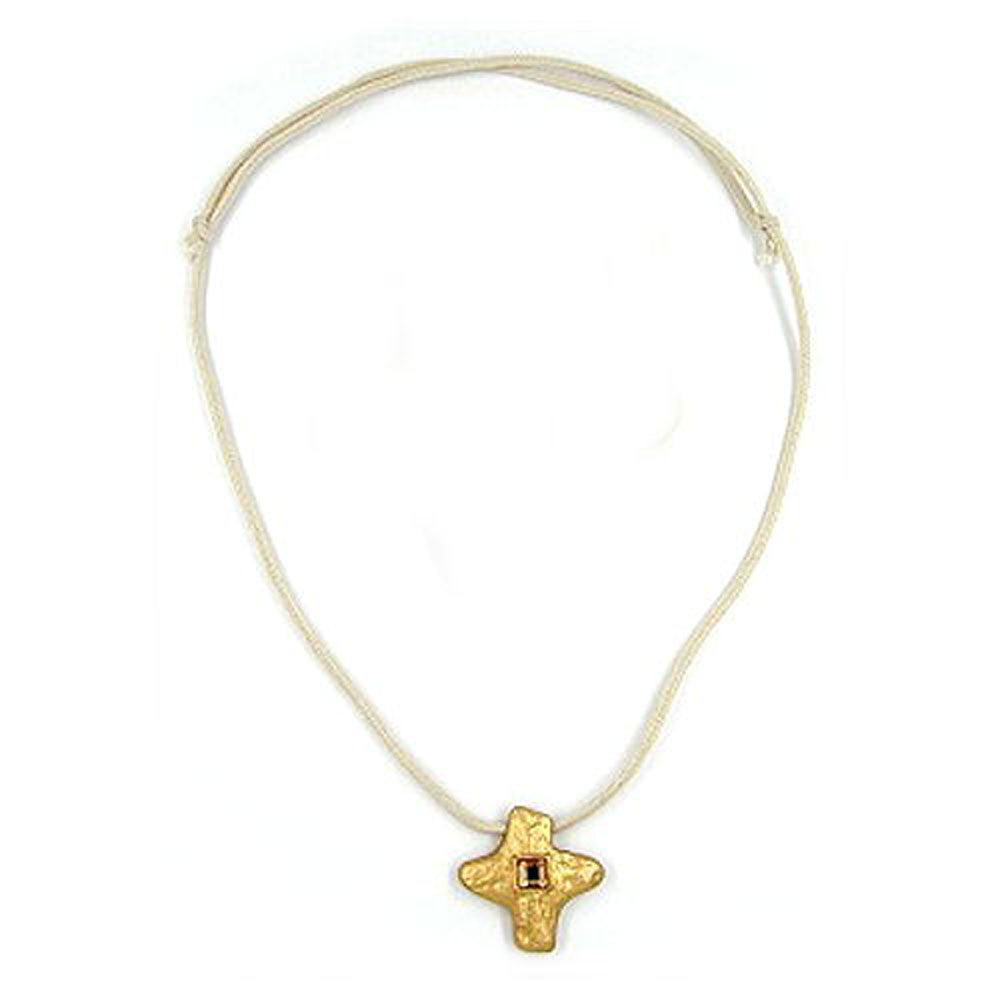 NECKLACE METAL CROSS WITH RHINESTONE
