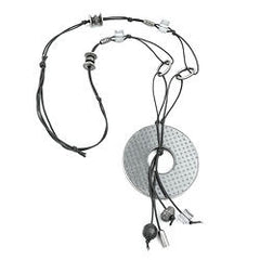 NECKLACE GREY BEADS 90CM