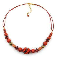 NECKLACE DIFFERENT BEADS RED/ RUST/ ORANGE 45CM