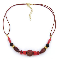 NECKLACE RED/ GOLD COLOURED & MARBLED BEADS 45CM