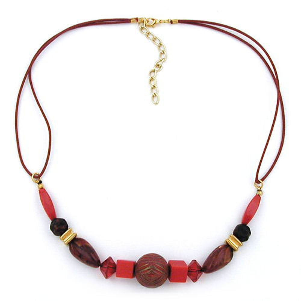 NECKLACE RED/ GOLD COLOURED & MARBLED BEADS
