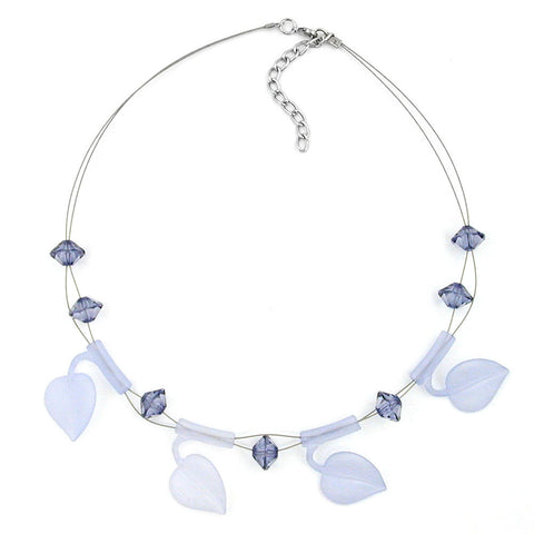 NECKLACE LEAF BEADS LIGHT BLUE ON COATED FLEXIBLE WIRE 44CM