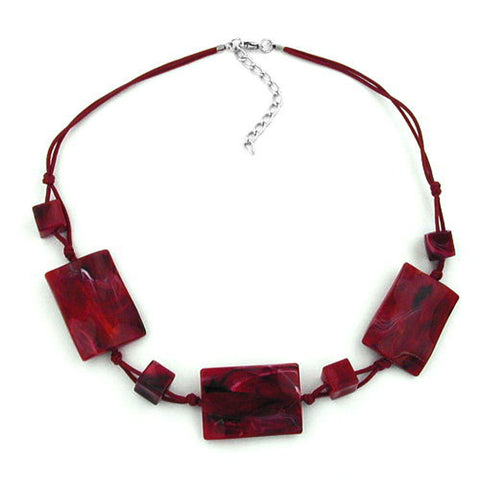 NECKLACE 3 LARGE PILLOW BEADS WAVED RED/BLACK MARBLED