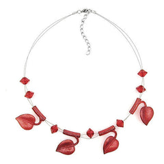 NECKLACE LEAF BEADS RED-COLOURED ON COATED FLEXIBLE WIRE 44CM
