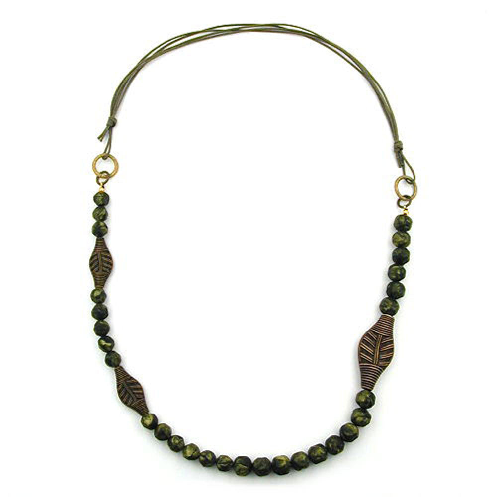 NECKLACE 3 LEAF BEADS OLIVE COLOUR PRESSED BEAD