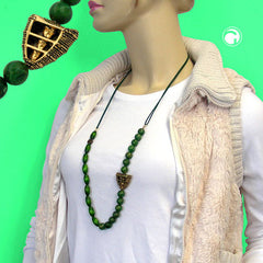 NECKLACE DARK GREEN/ GREEN MARBLED 90CM