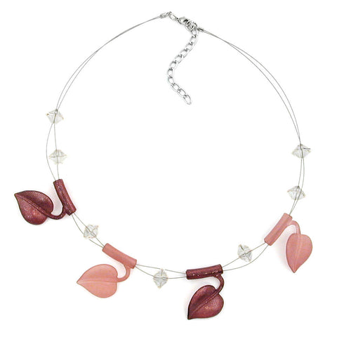 NECKLACE LEAF BEADS BROWN-TONES-COLOURED ON COATED FLEXIBLE WIRE 44CM