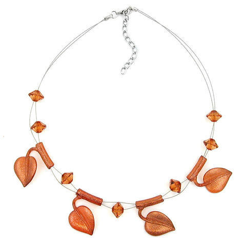 NECKLACE LEAF BEADS BROWN-COLOURED ON COATED FLEXIBLE WIRE 44CM
