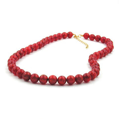 NECKLACE BEADS RASPBERRY-RED 8MM 50CM