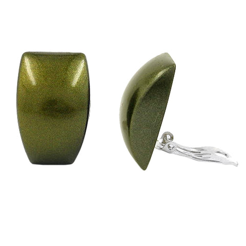 CLIP-ON EARRING TRAPEZIUM GREEN GOLD