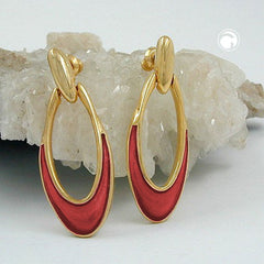 EARRINGS DANGLING RUST RED GOLD COLOURED