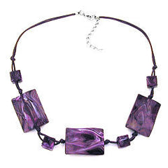NECKLACE 3 LARGE PILLOW BEADS WAVED PURPLE MARBLED 45CM