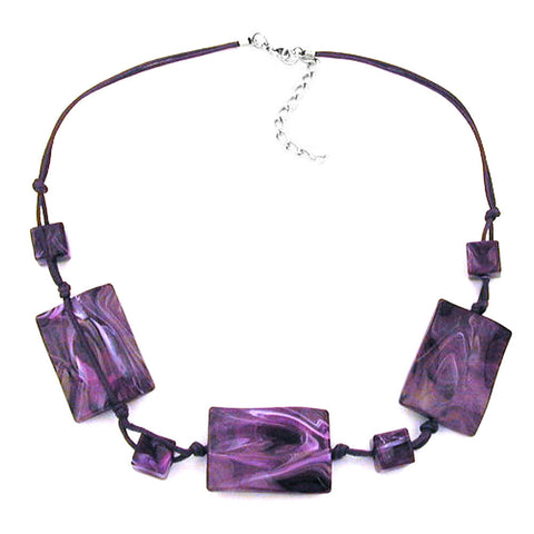 NECKLACE 3 LARGE PILLOW BEADS WAVED PURPLE MARBLED