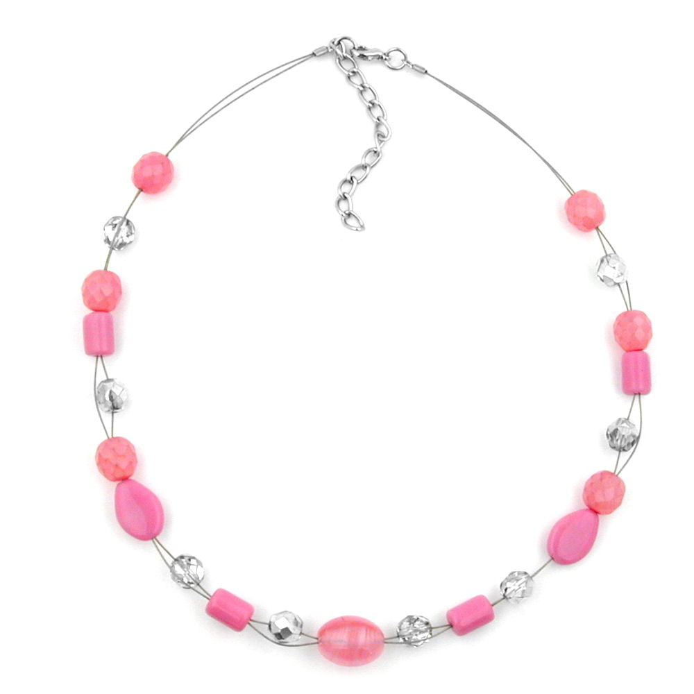 NECKLACE PINK TRANSPARENT BEADS ON COATED FLEXIBLE WIRE