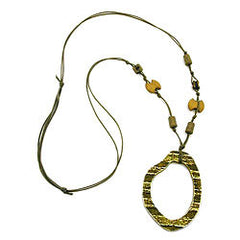 NECKLACE DARK GREEN/OLIVE LARGE RING PENDANT 100CM