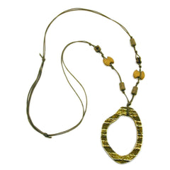 NECKLACE DARK GREEN/OLIVE LARGE RING PENDANT