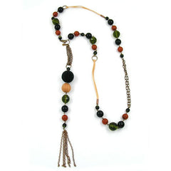 NECKLACE GLASS BEADS GREEN BROWN RED 90CM
