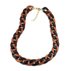 NECKLACE CURB CHAIN BROWN