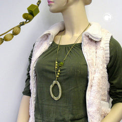 NECKLACE GREEN/OLIVE LARGE RING PENDANT 95CM