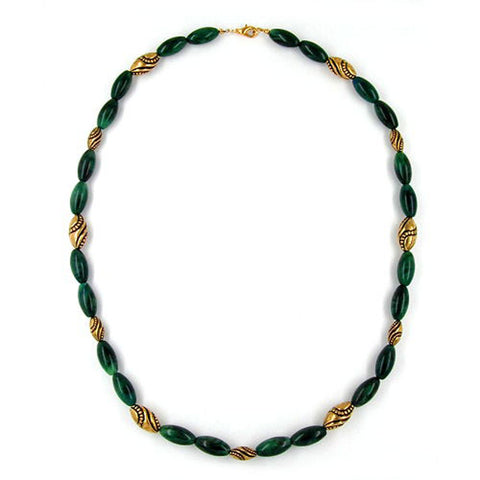 NECKLACE BEADS GREEN-MARBLED 60CM