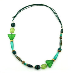 NECKLACE MINT GREEN DARK GREEN MULTICOLOUR DESIGN 85CM
