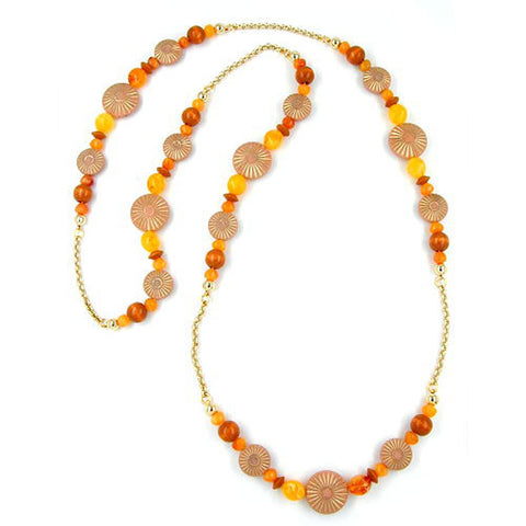 NECKLACE TERRA-OCHRE ORANGE 100CM