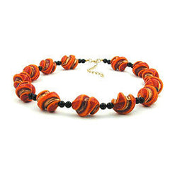 NECKLACE SCREW BEADS RED/ORANGE/GOLD-COLOURED 50CM