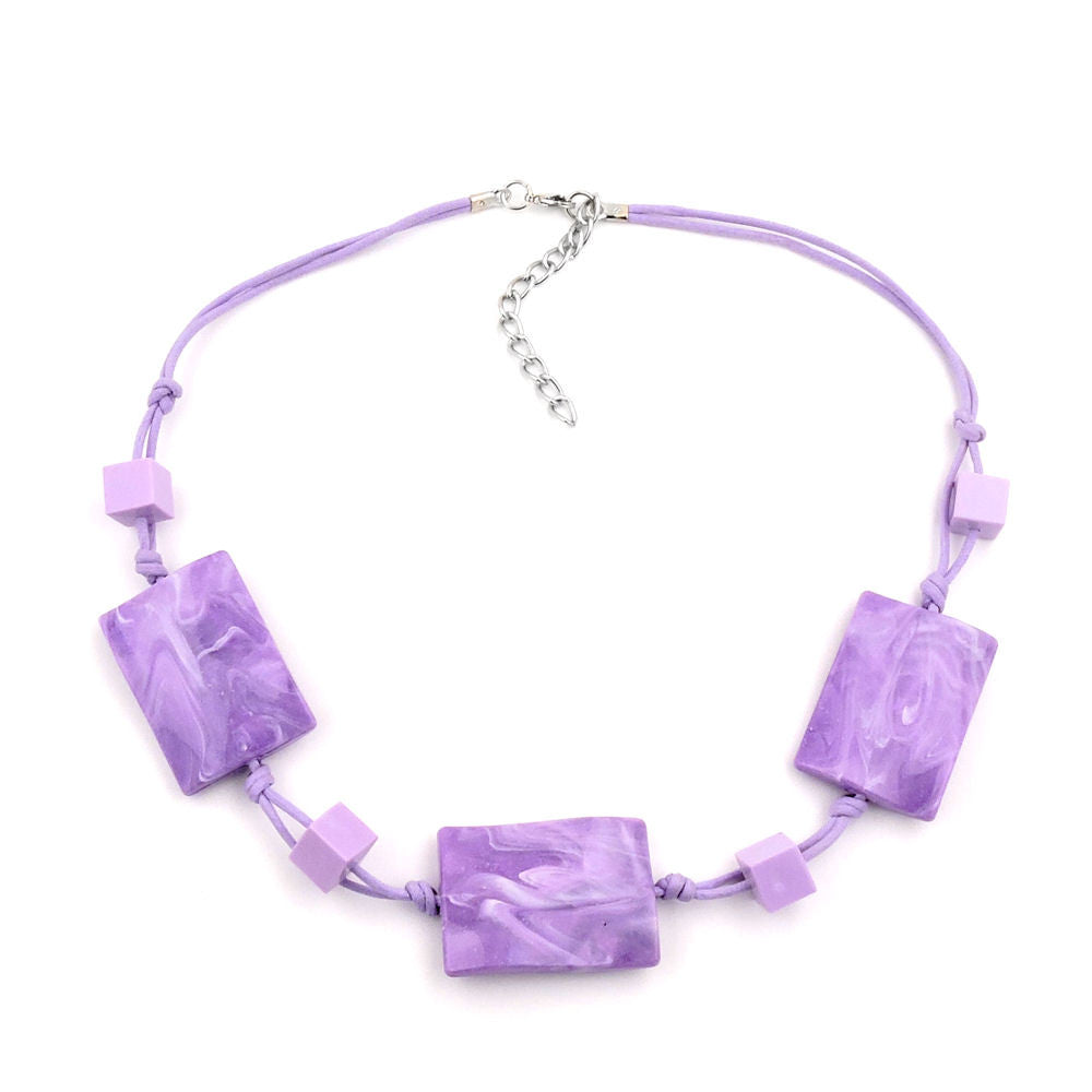 NECKLACE WAVY TETRAGON WHITE-LAVENDER