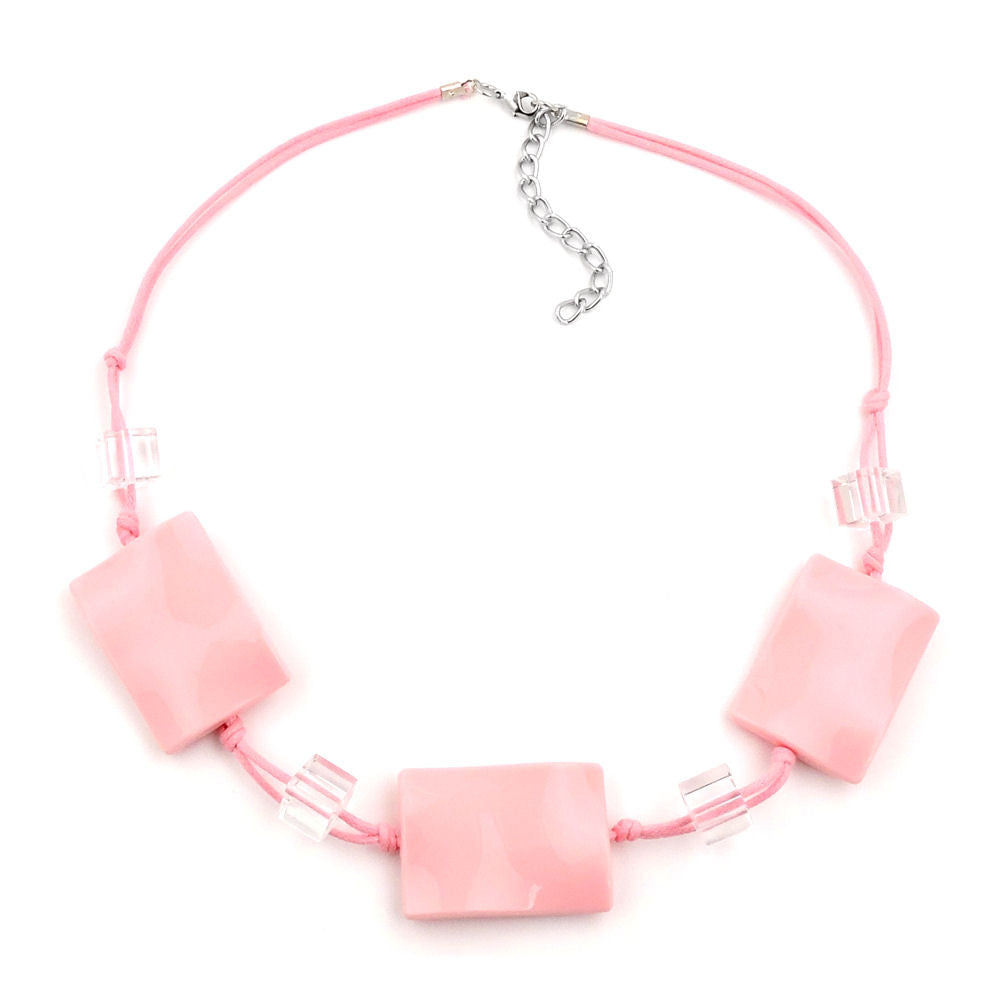 NECKLACE WAVY TETRAGON PINK CORD PINK