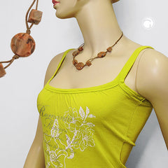 NECKLACE BEADS ON CORD MARBLED BROWN 45CM