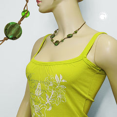 NECKLACE BEADS ON CORD GREEN-OLIVE 45CM
