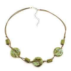 NECKLACE BEADS ON CORD TURQUOISE-OLIVE 45CM