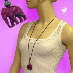 NECKLACE ELEPHANT PURPLE MARBLED 100CM