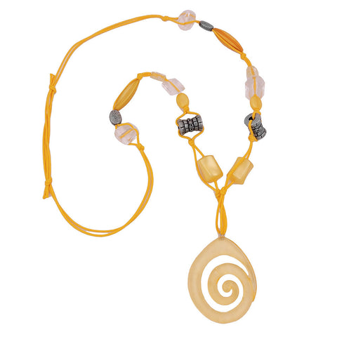 NECKLACE YELLOW + ANTIQUE-SILVER BEADS