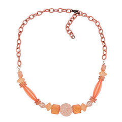 NECKLACE CHAIN WITH BEADS ROSE 55CM
