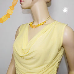 NECKLACE YELLOW BEADS YELLOW CORD 42CM