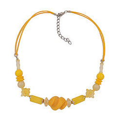 NECKLACE YELLOW BEADS TWISTED 42CM