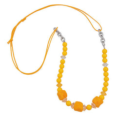 NECKLACE STONE-SHAPED BEADS YELLOW 80CM
