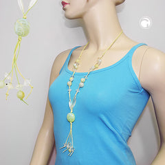 NECKLACE BEADS LIGHT-GREEN YELLOW 80CM